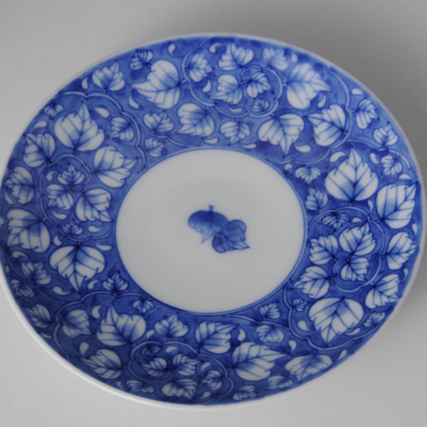 SOMETSUKE KARAKUSAMON DEMITASU (Cup & Saucer with Vines-coiled design in underglaze blue) Arita ware