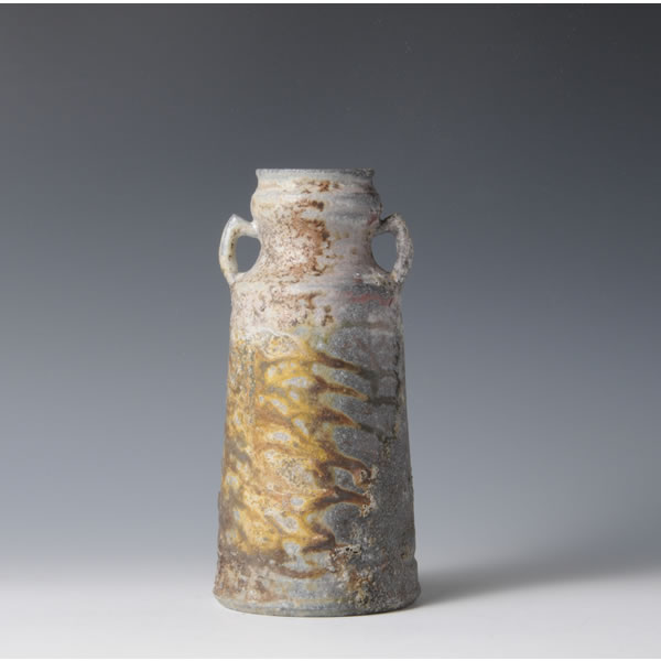 CHOSENGARATSU YOHENHANAIRE (Two-colored Karatsu ware Flower Vase with Kiln Effects B) Takeo ware
