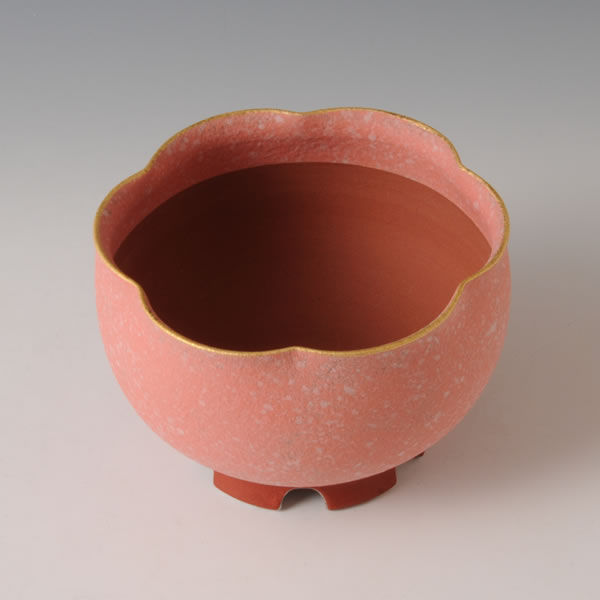 SUIDEI KINOSAI BONSAIBACHI (Flower Pot with Sprayed Slip & Gold & Cherry Blossoms decoration A) Tanba ware