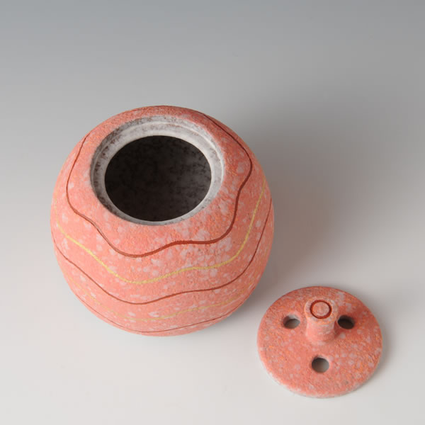 SUIDEI KINOSAI HAMON KORO (Incense Burner with Sprayed Slip & Pink decoration) Tanba ware