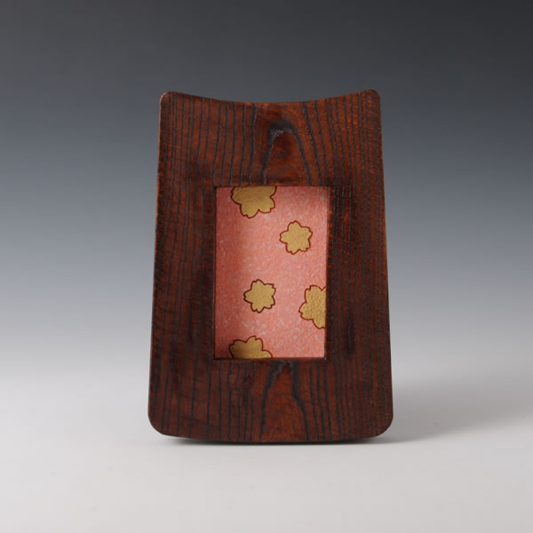 SUIDEI KINOSAI TOGAKU (Pottery Painting Frame with Sprayed Slip & Gold & Cherry Blossoms decoration) Tanba ware