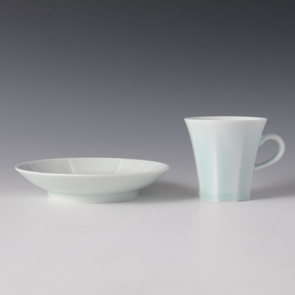SEIHAKUJI MENTORI COFFEEWAN (White Porcelain Faceted Cup & Saucer with Pale Blue glaze) Arita ware