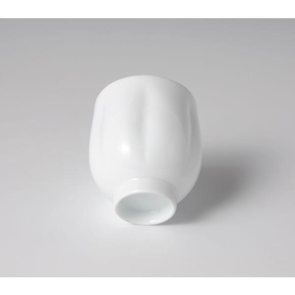 HAKUJI ROPPOOSHI YUNOMI (White Porcelain Tea Cup with finger-pushed on six sides)