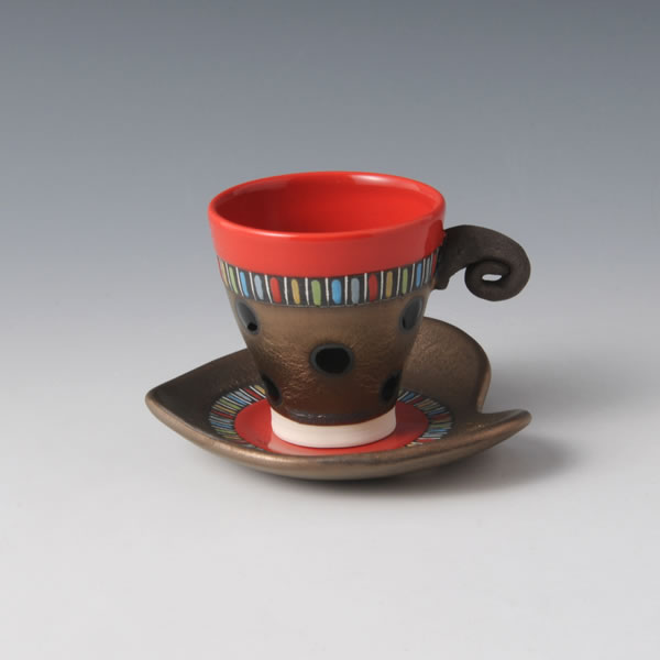 RGB Demitasu (Cup & Saucer with Red Gold & Black decoration A)