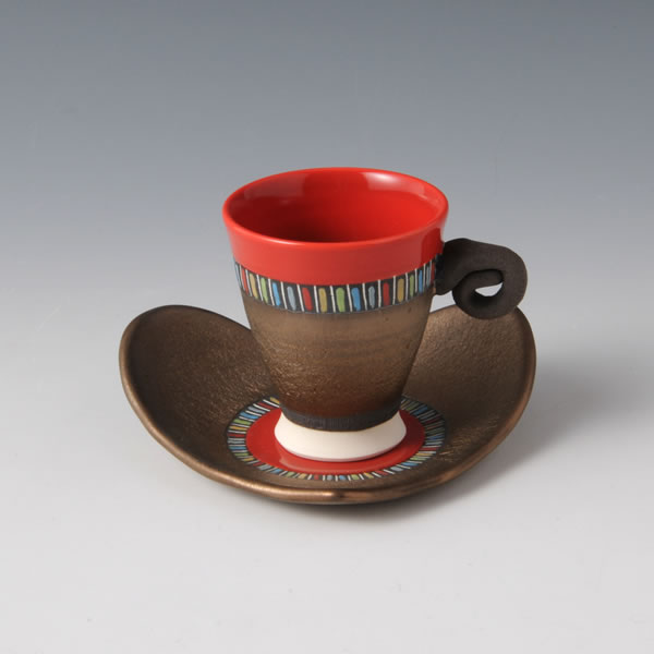 RGB Demitasu (Cup & Saucer with Red Gold & Black decoration C)