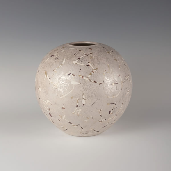 GINSAI TSUBO (Jar with Overglaze Silver decoration B) Kasama ware