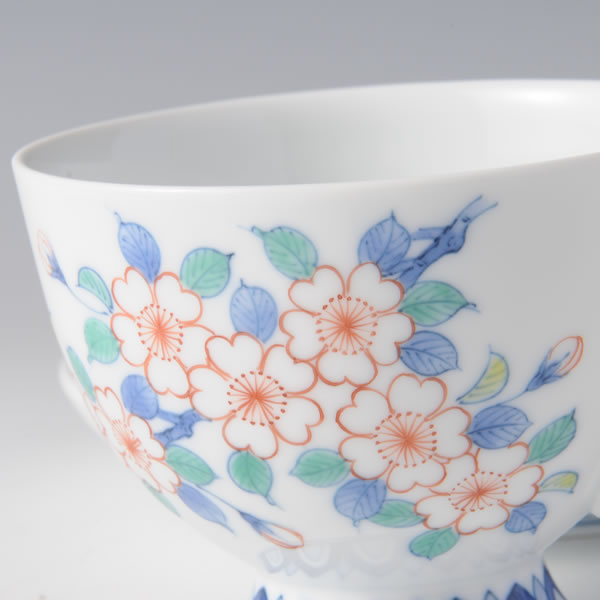 IRONABESHIMA SAKURAMON COFFEEWAN (Cup & Saucer with multi-coloured overglazed enamel) Nabeshima ware