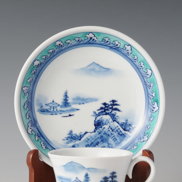 UWAENAMIMON SOMETSUKE SANSUIZU COFFEEWANZARA (Cup & Saucer with Landscapes in underglaze blue & the Wave design in overglaze enamel) Arita ware