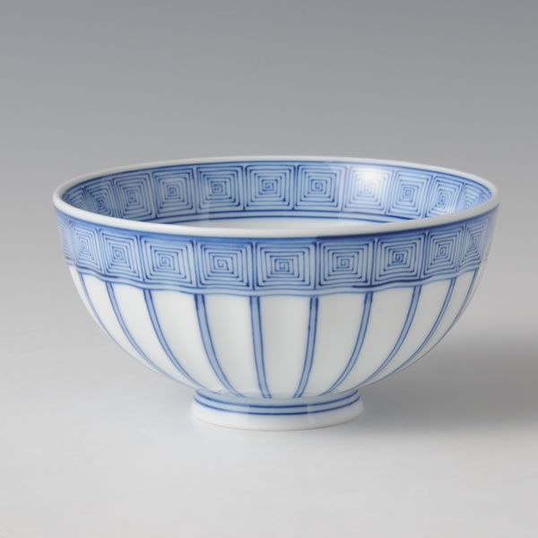 TOKUSA RAIMON MESHIWAN (Bowl with the Horsetail & the Geometric design)