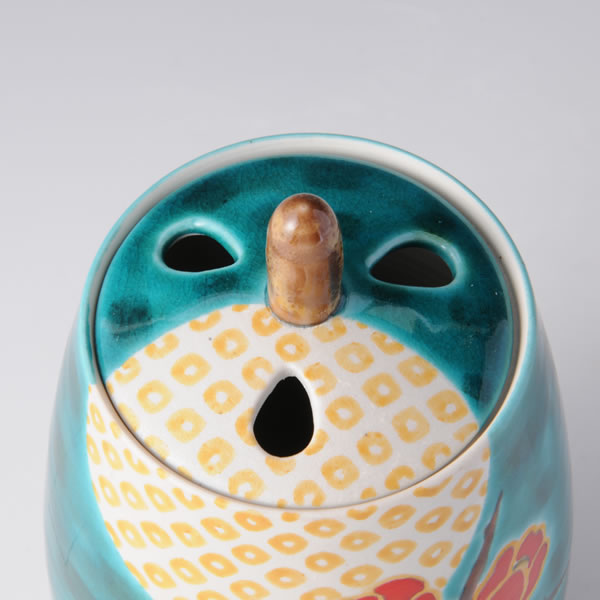 KORO SAICHO (Incense Burner with Flower and Bird) Kutani ware