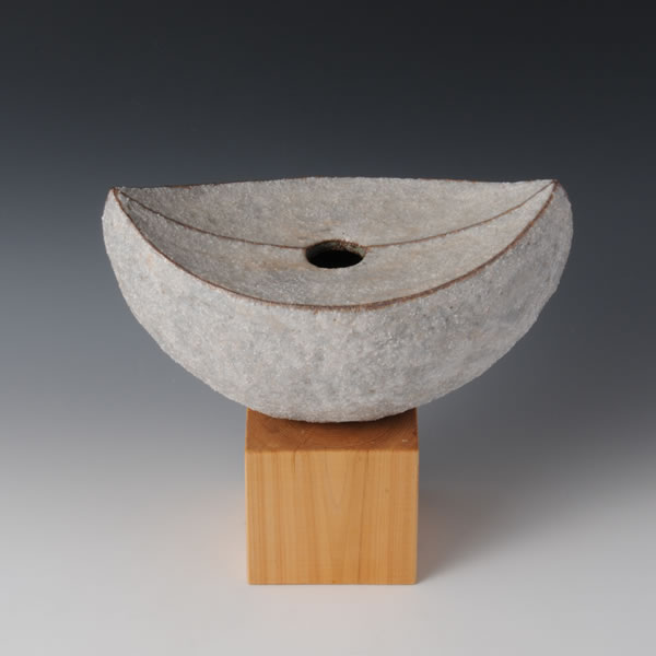 "SEKISAI KAKI TSUKI (Flower Vase with Decorated Stone Grains ""Moon"") Kyoto ware"
