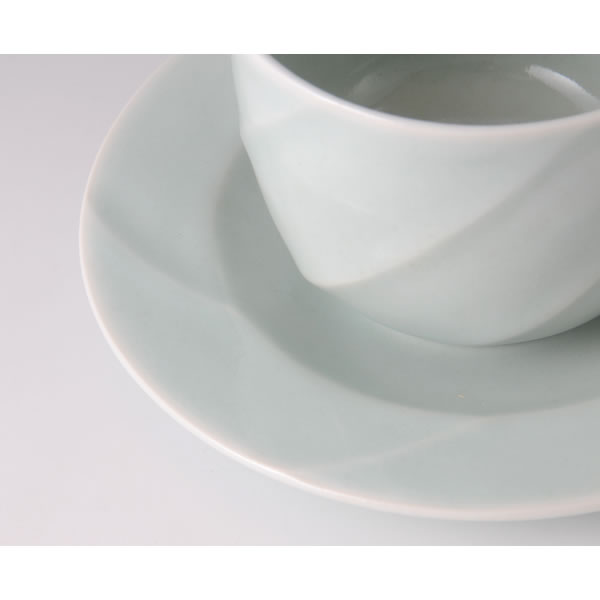 SEIHAKUJI COFFEECUP (White Porcelain Cup & Saucer with Pale Blue glaze B)